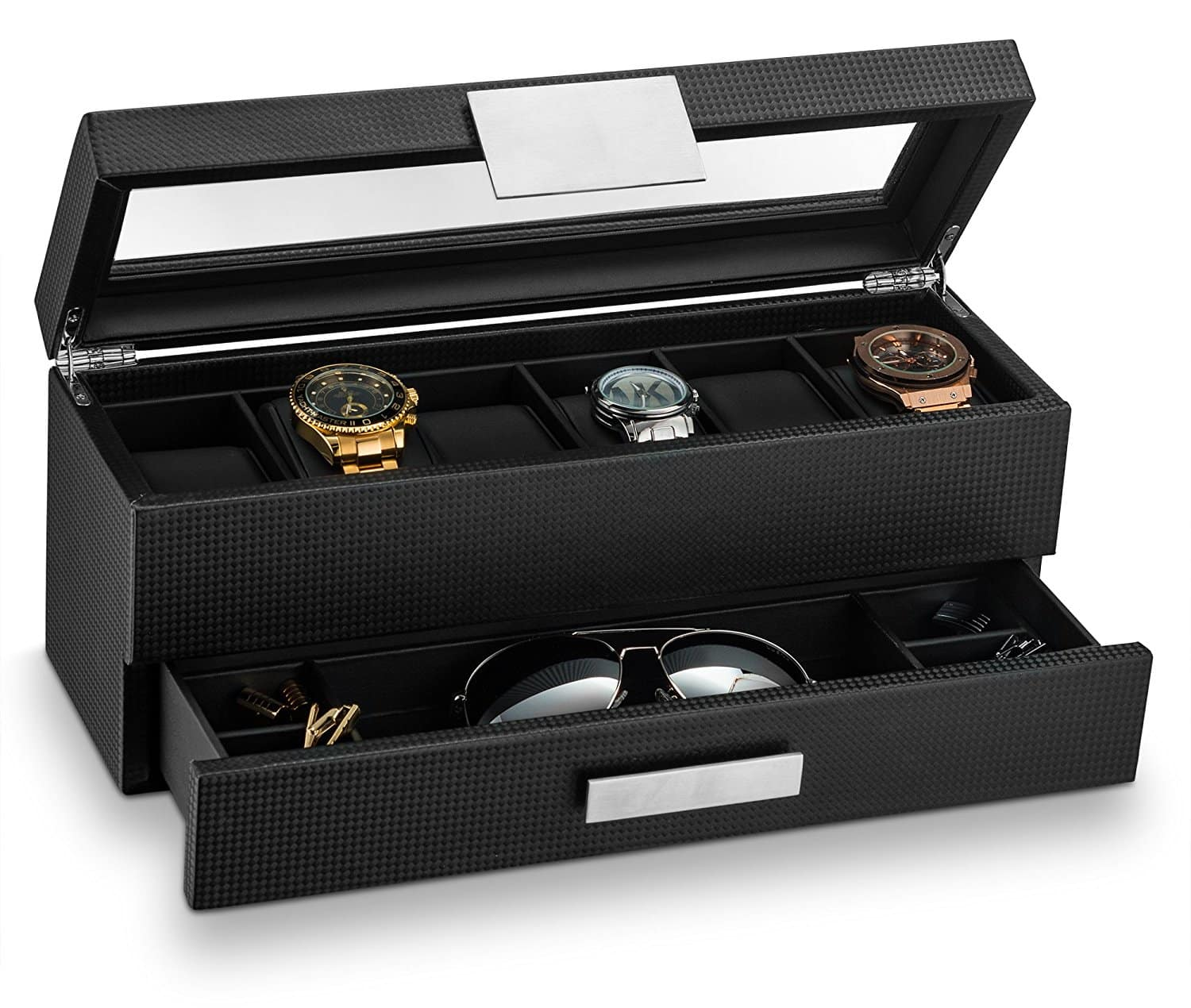 Glenor Co Watch Box with Valet Drawer for Men – 6 Slot Luxury Watch Case Display Organizer, Carbon Fiber Design -Metal Buckle for Mens Jewelry Watches, ...