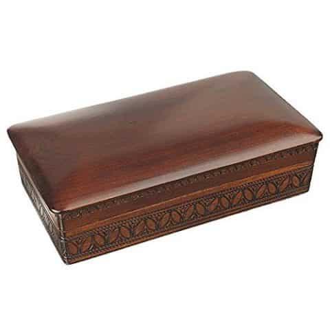 Espresso Stained Linden Wood Jewelry Keepsake Storage Box (Large) Wooden Box