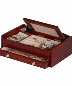 Mele & Co. Davin Men's Wooden Dresser Top Valet in Dark Burlwood Walnut Finish