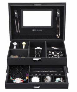 SONGMICS Watch Organizer Jewelry & Accessories Holder Display Case for Men & Women, Faux Leather, Black UJBC221BK