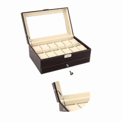 Autoark Leather 12 Mens Watch Box with Jewelry Display Drawer Lockable Watch Case Organizer,Brown,AW-003