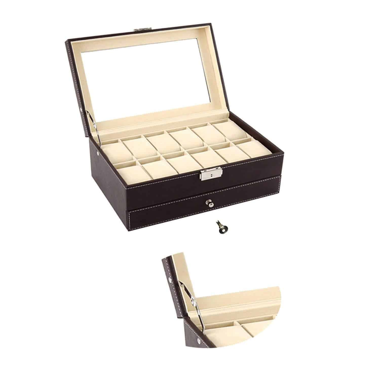 Autoark Leather 12 Mens Watch Box with Jewelry Display ...
