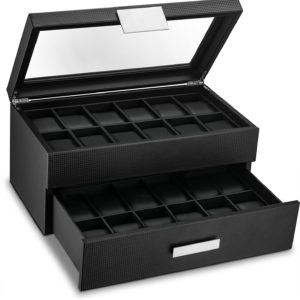 Glenor Co Watch Box for Men - 24 Slot Luxury Display Case Organizer, Carbon Fiber Design -Metal Buckle for Mens Jewelry Watches, Men's Storage Holder w Large Glass Top, Drawer & Leather Pillows- Black