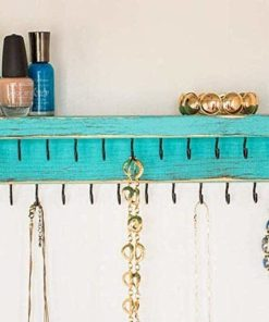 Jewelry Organizer by Out Back Craft Shack: Farmhouse Decor Wall Mount Necklace Holder; Rustic Teal
