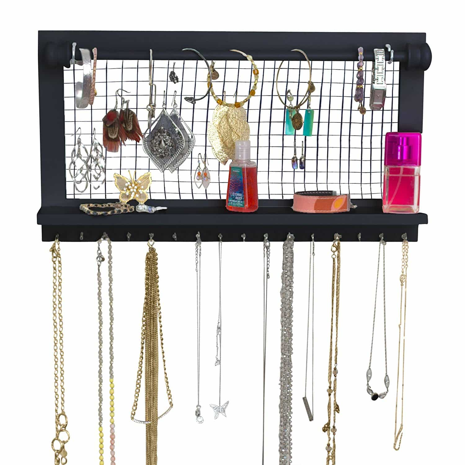 b1f227ca4 SoCal Buttercup Espresso Jewelry Organizer with Removable Bracelet Rod from  Wooden Wall Mounted Holder for Earrings ...