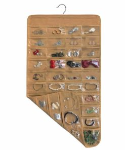 brotrade Hanging Jewelry Organizer,80 Pocket Organizer for Holding Jewelries (Coffee)