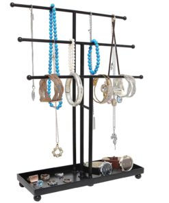 Modern Black Metal 3 Tier Tabletop Bracelet & Necklace Jewelry Organizer Display Tree Rack w/ Ring Tray