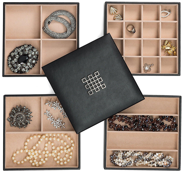 Glenor Co Jewelry Organizer Tray - 4 Stackable Trays & Lid ...