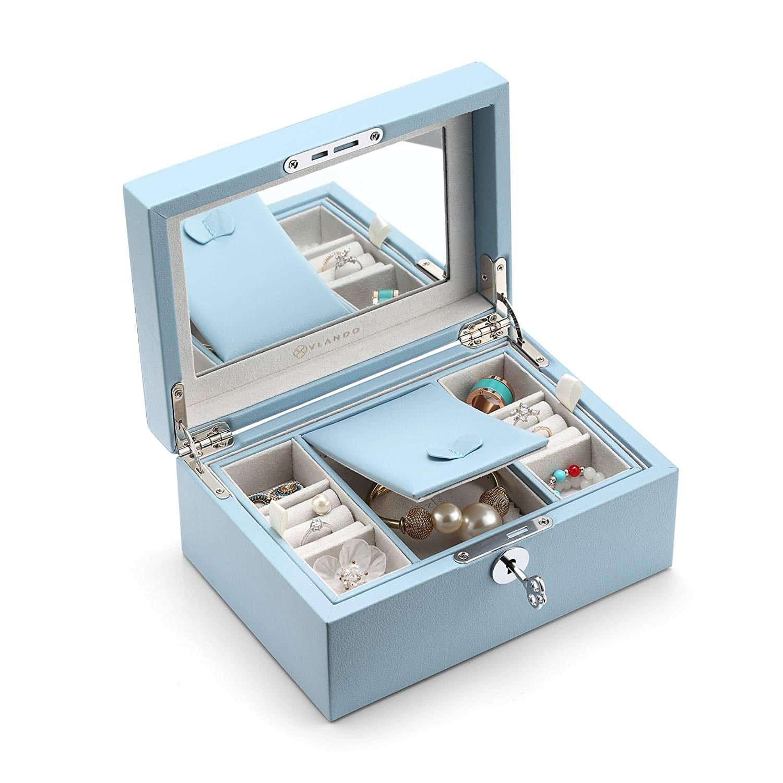 b33ab4f18 Vlando Pandora Jewelry Box, Jewelry Organizer and Storage with Mirror and  Tray -Blue
