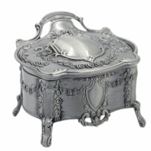 mossty Metal Vintage Jewelry Box Antique Style Princess Makeup Organizer with Flower Carved