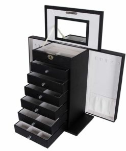 SONGMICS Black Jewelry Box Large Cabinet Faux Leather Storage Case Organizer Lock Mirror UJBC06B