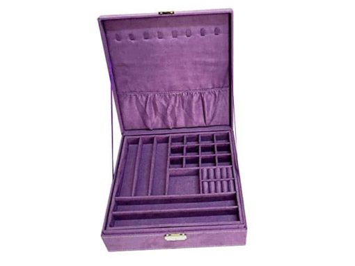 Sodynee Two-Layer Lint Jewelry Box Organizer Display Storage Case with Lock