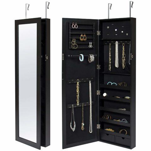 Best Choice Products Wall Door Mounted Locking Mirror Jewelry Cabinet Organizer W/Keys- Black