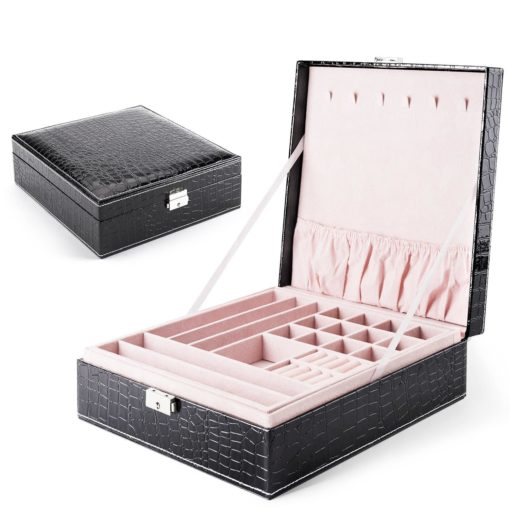 MESHA Jewelry Box Organizer 28 Section 2 Layers Modern Girls Women Jewelry case for Earring Ring Necklace Bracelet PU Leather Bright Embossed Black Storage Box with Lock