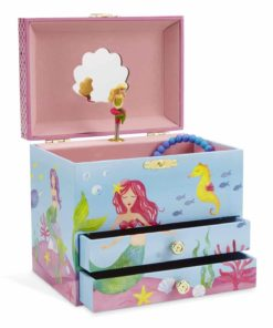 JewelKeeper Mermaid Musical Jewelry Box, Underwater Design with Two Pullout Drawers, Over The Waves Tune