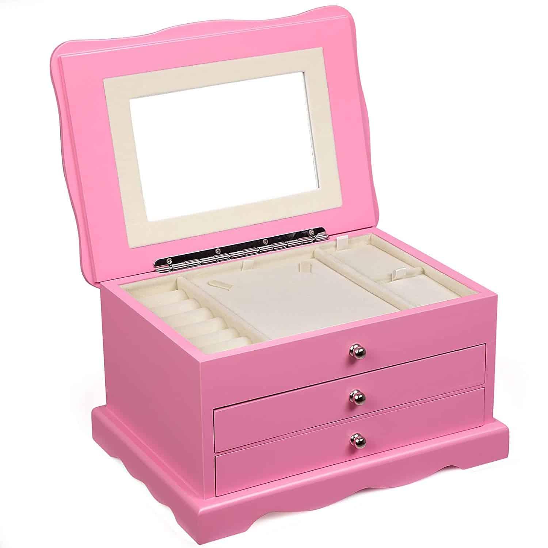 Songmics Girls Jewelry Box Pink Wooden Case Organizer Mirror Ujow03p