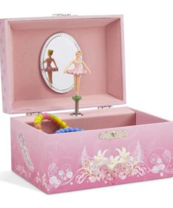 JewelKeeper Girl's Musical Jewelry Storage Box with Spinning Ballerina, Pink Design, Swan Lake Tune