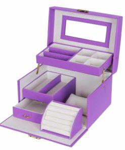 SONGMICS Children's Day Girls Jewelry Box Lockable Jewelry Organizer Mirrored Storage Case Purple UJBC114P