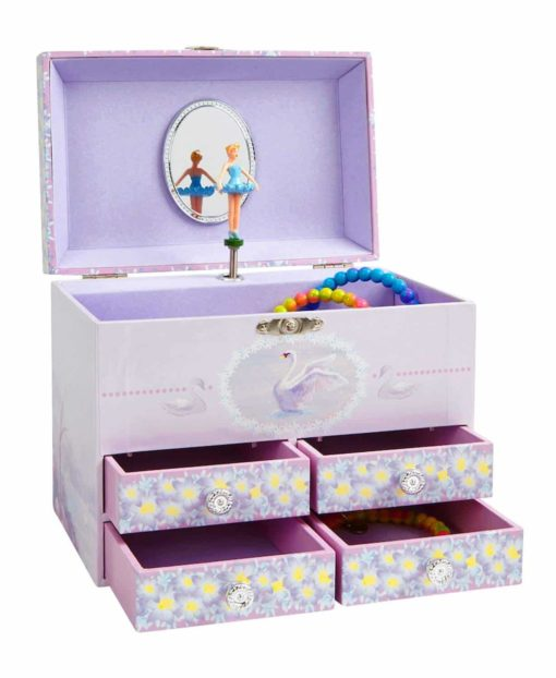 JewelKeeper Stars and Swans Large Musical Ballerina Jewelry Storage Box with 4 Pullout Drawers, Girl's Jewel Box, Swan Lake Tune