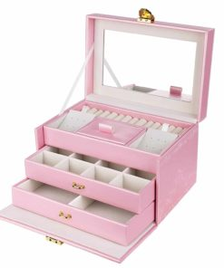 SONGMICS Girls Jewelry Box Lockable Embossed Storage Case Rose Organizer Mirrored Jewelry Holder, Gift for Mom, Pink UJBC116