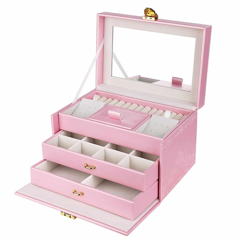 Songmics Girls Jewelry Box Lockable Embossed Storage Case Rose Organizer Mirrored Jewelry Holder Gift For Mom Pink Ujbc116