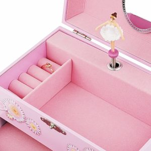 """Ballerina Music Jewelry Box with Melody is """"Swan Lake"""" Pink"""