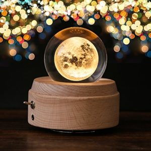 Apollo Box Night Light,Luminous Rotating Crystal Ball Music Box with Projection Light and Wood Base, Great Gift for Father's Day, Christmas/Birthday/Valentine's Day, Romantic Moon