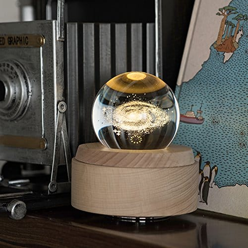 Apollo Box Night Lamp,Luminous Rotating Crystal Ball Music Box with Projection Light and Wood Base, Great Gift for Father's Day, Christmas/Birthday/Valentine's Day, The Starry Night