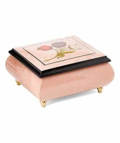 Light Pink Italian inlaid musical jewelry box with original tulip design and customizable tune options