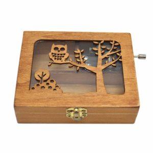Anlydia Vintage Wooden Animal Pattern Hand Cranked Jewelry Music Box Trinket Box (Owl)