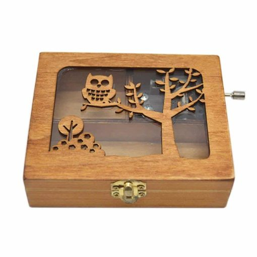 Anlydia Vintage Wooden Animal Pattern Hand Cranked Jewelry Music Box Trinket Box (Owl)