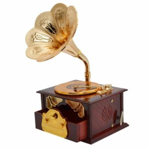 Fding Classical Trumpet Horn Turntable Gramophone Art Disc Music Box & Make up Case &Jewelry Box Home Decor (Brown)