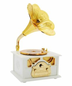 Fding Classic Gold Horn Retro Gramophone Art Disc Music Jewellery Box & Macke up Case Home Decor (white)
