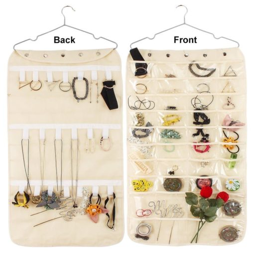 Hanging Jewelry Organizer Double Sided 40 Pockets & 20 Magic Tape Hook Storage Bag Closet Storage for Earrings Necklace Bracelet Ring Display Pouch-Huston Lowell (Beige)