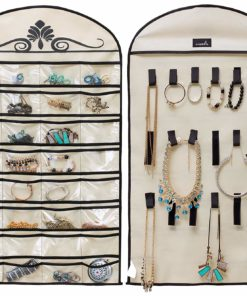 MISSLO Hanging Jewelry Organizer Holder 32 Pockets 18 Loops for Accessories Storage, Beige