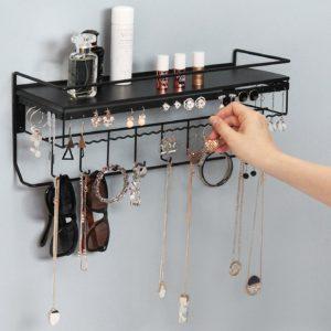 JackCubeDesign Wall Mounted Classic Black Iron Designer Made Cosmetics Storage Shelf w/Necklace Jewelry Organizer Shelf Earrings Holder – :MK238A