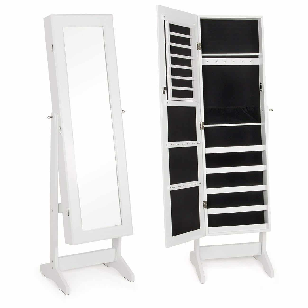 LANGRIA Lockable Jewelry Cabinet Standing Jewelry Armoire ...
