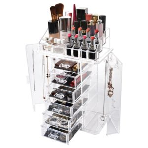 Miusco Jewelry Box and Makeup Organizer Set, 24 Slots, Clear Acrylic