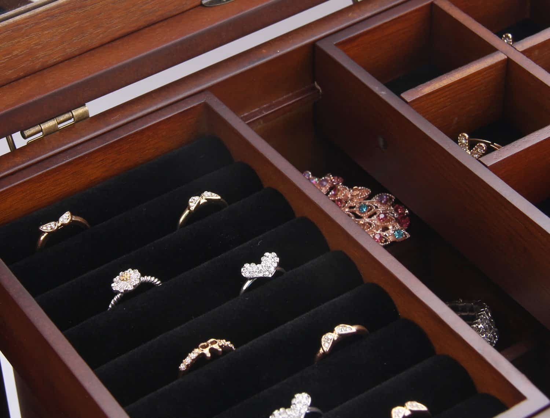 Vintage Wood Handmade Jewelry Box Ring Organizer Storage Jewelry Case Gift