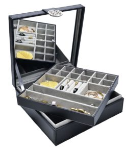 Elegant Women's Jewelry Organizer Box – Modern Design Keeps Necklaces, Rings & Earrings Safe & Organized, Large Mirror, 2 Stackable Trays & 24 Sections, Beautiful Magnetic Clasp Idea