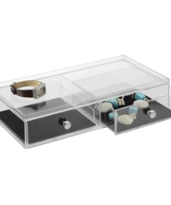 mDesign Fashion Jewelry Organizer Box for Rings, Earrings, Bracelets, Necklaces - 2 Wide Drawers, Clear/Black
