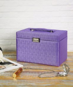 SONGMICS Girls Jewelry Box Jewelry Case Purple Textured Organizer UJBC133