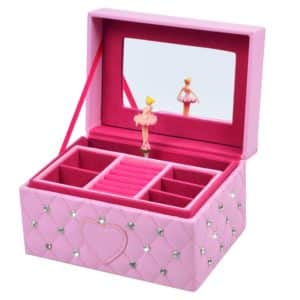 SMONET Musical Jewelry Box Ballerina Girl's Jewel Storage Case Pink for Elise