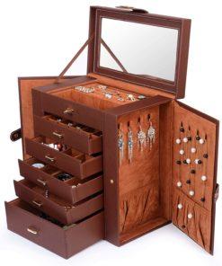 Kendal Huge Leather Jewelry Box/Case/Storage LJC-SHD5BN (Brown)