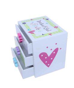 Kids Jewelry Box - Colorful Flower Compartment Drawer - Small Square Accessories Box - 6L x 4.5W x 6H
