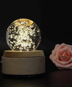 Apollo Box Night Light,Luminous Rotating Crystal Ball Music Box with Projection Light and Wood Base, Great Gift for Father's Day Christmas/Birthday/Valentine's Day, The Bubble Sea