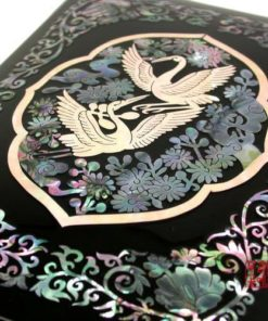 Mother of Pearl Asian Lacquer Wooden Black Bird Music Jewelry Case Trinket Keepsake Treasure Gift Box Organizer with Crane Design