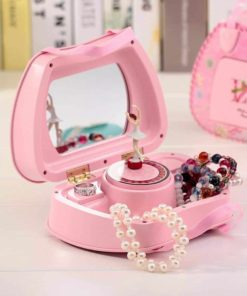 Felice Childrens Musical Jewelry Box Pink Purse Shape Ballerina Music Box for Little Girls