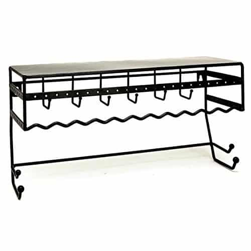 "Kennedy International Black 13.5"" Wall Mount Jewelry & Accessory Storage Rack Organizer Shelf for Earrings, Bracelets, Necklaces, Hair Accessories"