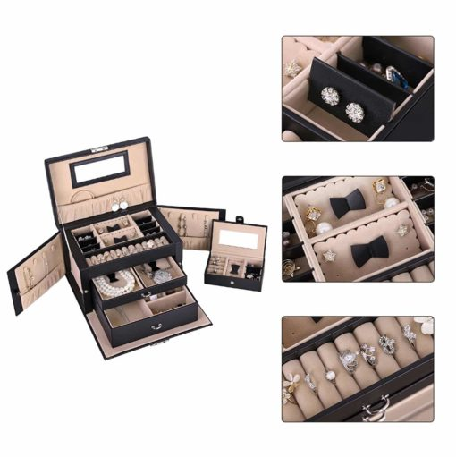 SONGMICS Jewelry Box Girls Jewelry Organizer Mirrored Mini Travel Case Lockable Black UJBC121B
